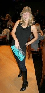 Designer inspired teal ruffle clutch and Ella Moss top