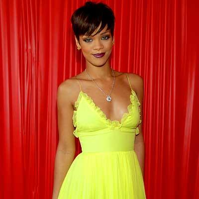 Rihanna wearing an adorable canary yellow dress