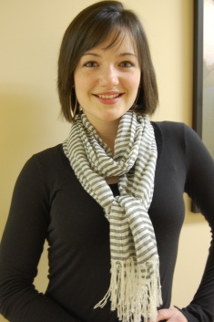 Emily rocks a Joey Eric thin striped sailor scarf ($25-available in yellow, red, and sky)