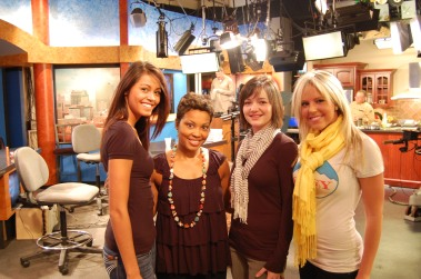 (left to right) Kelsey, Jalonda, Emily and Erin inside of the Fox 45 recording studio.
