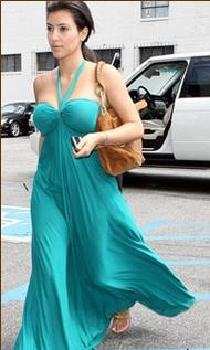 Kim Kardashian running day-to-day errands in a MAXI DRESS