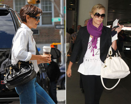Katie Holmes with the black tote in NYC and Charlize Theron makes it the perfect spring accessory in white while arriving at LAX