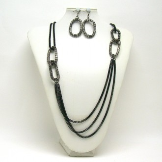 gun metal chain link necklace- $42