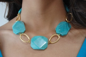 Natural Stone necklace-turquoise, $45   www.joeyeric.com