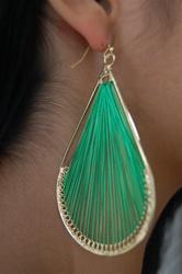 green woven earring