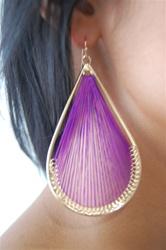 purple woven earring