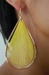 yellow woven earring