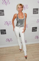 Victoria Beckham launched her debut denim collection this week in New York wearing a pair of her own white denim.
